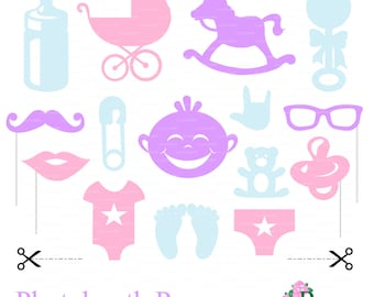 Photo booth props baby shower party (svg, dxf, png file) digital paper cutting, die cut, silhouette cameo Cricut cutter EasyCutPrintPD