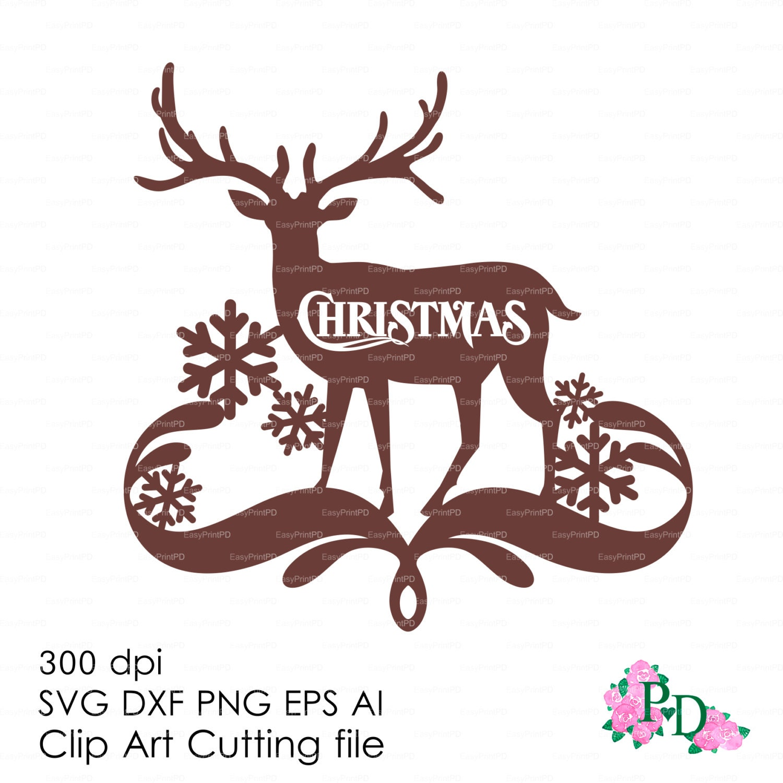 Wall Art Stickers Vector : Christmas deer reindeer wall decor decal vinyl svg dxf ai