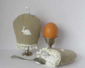 egg cozy linen cotton grey eggcosy embroidery eastern rabbit bunny egg braid breakfasttable