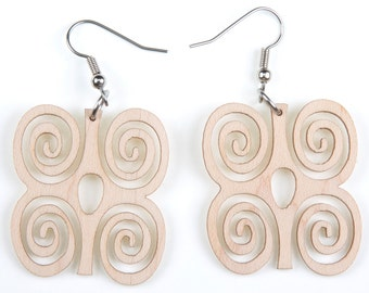 """African Symbol of """"Strength"""", Laser Cut, Wood Earring"""