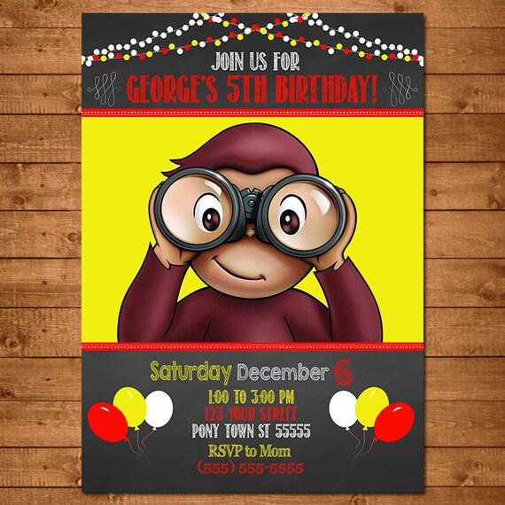 Curious George Invitation Chalkboard Theme -- Curious George Invite -- Curious George Birthday