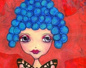 ART PRINT Mixed Media Whimsical Art Girl with Blue Hair Print A4 size Free local Postage