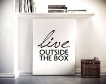Live outside the box, Motivational poster, Printable poster, Instant download, Printable quote, Digital poster, Scandinavian poster