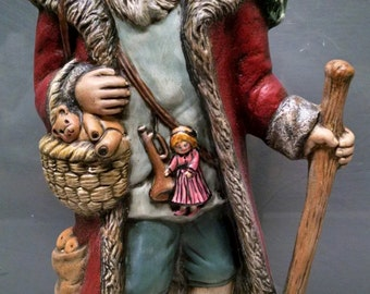 SALE!!!Colonial Santa -- Heirloom-quality handpainted ceramic Santa -- Christmas mantel decor