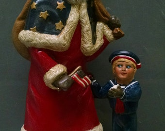 SALE!!!Patriotic Santa -- Heirloom-quality handpainted ceramic Santa -- Christmas mantel decor