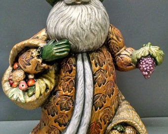 SALE!!!Fruit and Vegetable Santa -- Heirloom-quality handpainted ceramic Santa -- Christmas mantel decor