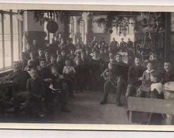 1920's Christmas tree eve day santa Vintage Real Photo Postcard Photography, Paper Ephemera, Antique, RPPC