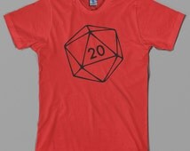Dungeons & Dragons inspired T Shirt - role playing game, rpg, d20, 20 sided die, dice, board, master, retro, gift - Graphic tee, All Sizes