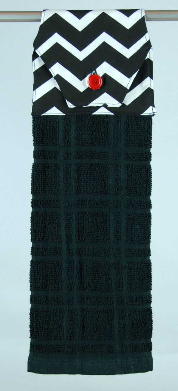 Black Terry Cloth Hanging Kitchen Towel with black & white