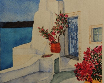 "Watercolour Greece : ""White  house in Cyclades"""