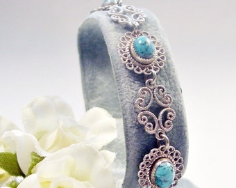 Vintage Turquoise and Sterling Silver Filigree Bracelet
