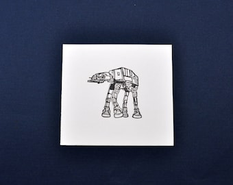 Large AT-AT Imperial Walker Rubber Stamp, Hand Carved Star Wars Stamp