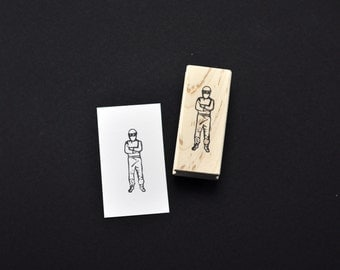 The Stig Rubber Stamp, Hand carved Top Gear Stamp