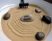 Personalized Stone for Mini Zen Garden - Customized Name Hand Painted Rock - Zen Decor Zen Room - Desk Accessory Office Decor - Smooth Stone