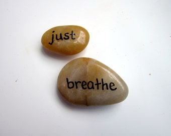 Just Breathe Hand Painted Stones - Inspirational Words Rock Decor Garden Stone - Anti Stress Natural Home Decor - Inspirational Office Decor