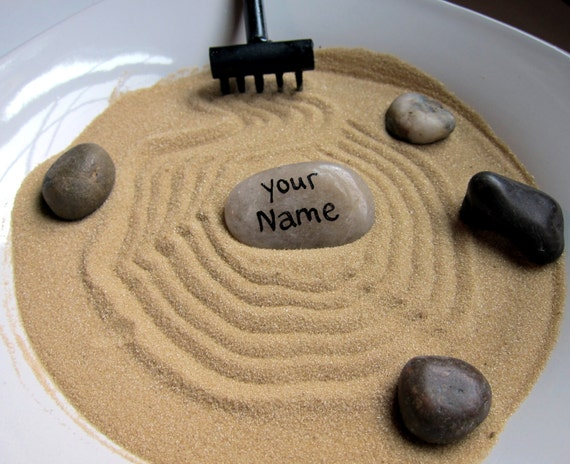 personalized stone for mini zen garden by minizengarden on etsy, Garden idea