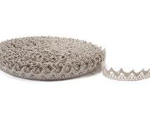 Linen Lace Trim, natural linen lace, grey linen trim, natural lace, natural trim, flax lace, crochet linen lace, wedding decor