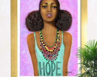 Hope Craze Fine Art Giclee Print from Original Artwork Watercolor Portrait Fashion Illustration African Art