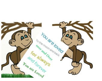 Jungle safari Monkeys Nursery poster print set 3 prints Monkey kids monkeys Wall Art to the moon and back inspirational Kids room wall art