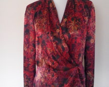 Vintage 80s Exotic Silky Wrap Blouse by Joan Leslie, Size S, Elegant Boho Blouse, Gypsy Blouse, Steampunk Blouse, Evening Wear, Floral Print