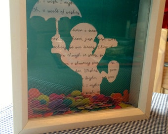 Disney's Wishes Jiminy Cricket Quote Collage Shadow Box