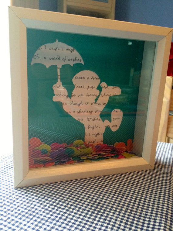 Disneys Wishes Jiminy Cricket Quote Collage Shadow Box