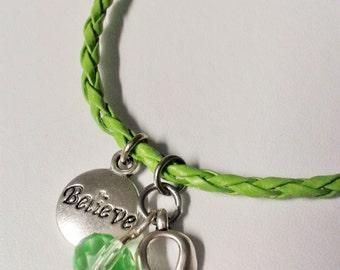 "Green ""Believe in Hope"" awareness bracelet"