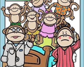 5 Little Monkeys Clip Art Set - Chirp Graphics