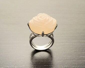 Rose Flower Ring  - Sterling Silver Ring - Hand Engraved stone - Rose Quartz - Rose Flower - shabby chic ring - Unique Vintage Ring