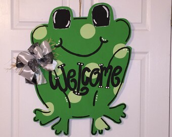 Door Hanger - Wood Cut Out - Frog. This adorable Frog can be changed to better meet your style!