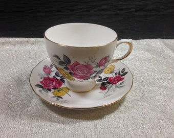 Vintage 1960's Royal Vale #7515 Pink & Yellow Rose Gothic Bone China English Tea Cup