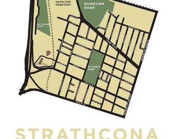 Hamilton, Ontario Neighbourhood Map Print: Strathcona Neighbourhood