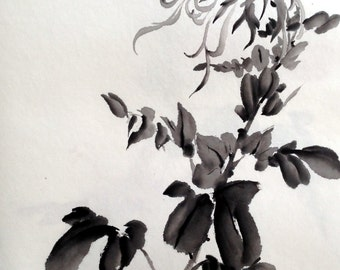 Timeless Chrysanthemums (Mums) - Chinese Ink Painting (27 x 17 inches)