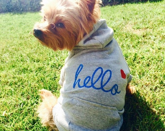 Hello Dog Hoodie. Grey Sweatshirt w/ Blue Glitter Text & Heart Icon. Casual Dog Apparel. Modern Clothes for Small Dogs. Cute Dog Lover Gift.