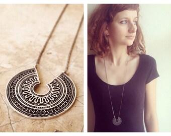 SALE Silver Boho Necklace, Indian Necklace, Tribal Necklace, Gold Necklace, Silver Colour, Gipsy Necklace, Boho pendant.