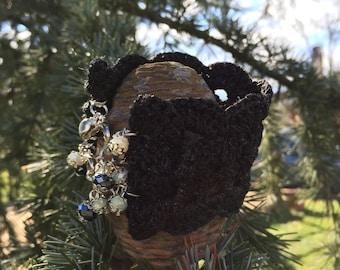 Black crochet bracelet/Black crochet bracelet