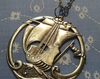 Pirate Ship Sailing Pendant Necklace