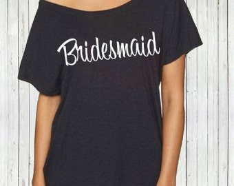 Slouchy off the shoulder Bridesmaid t-shirt. XS-2XL - Before The Bells