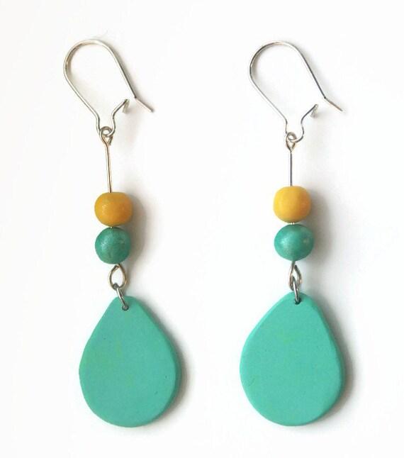 Turquoise Dangle Earrings, Modern Jewelry, Drop Earrings, Eclectic Chic Bohemian Earrings