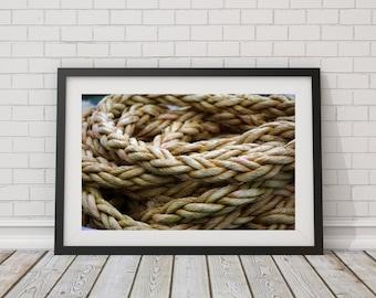 Nautical Macro Ropes Photography - Close-Up Print - Nautical Photo - Photo Rope Macro - Beach Decor - Nautical Gift