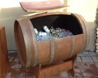 Items Similar To Rustic Whiskey Barrel Ice Chest On Etsy