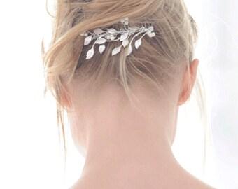 Silver leaf wedding comb - leafy pearl bridal comb - leafy bridal headpiece - grecian comb backpiece - Rosemary comb