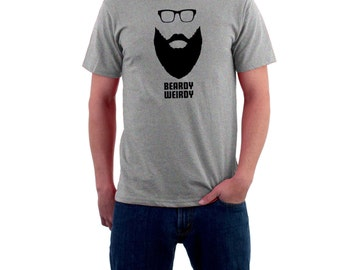 Long Beardy Weirdy T-shirt. Hipster Long Beard & Glasses. Funny Cotton Tee.