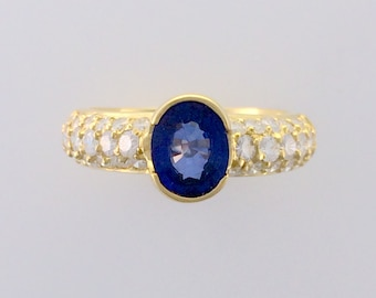 1.13ct Oval Sapphire & 1.05ct Diamond Ring - 18K Yellow Gold - September Birthstone - Alternative Engagement Ring or Wedding Band