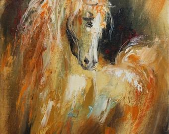 Horse Wall art, Giclee canvas print, Oil painting print, Animal print, Modern artwork, Fine art print, Living room decor, Horse painting