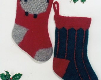 Felt Christmas Stocking Pattern - Knitting Pattern for Christmas Stockings - Christmas Stockings Knitting Pattern