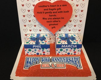 Anniversary Popup Card with gift boxes, heart and personalized