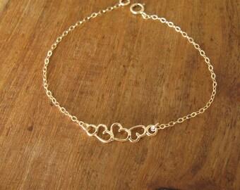 Gold bracelet, heart bracelet, 14k gold filled, chain bracelet, infinity bracelet, bridesmaid gift, dainty bracelet, gold heart bracelet