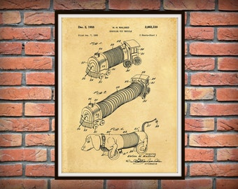 Patent 1958 Slinky Dog - Slinky Train - Surprise Toy Vehicle - Art Print - Poster - Wall Art - Drawing Illustration - Childs Room Decor
