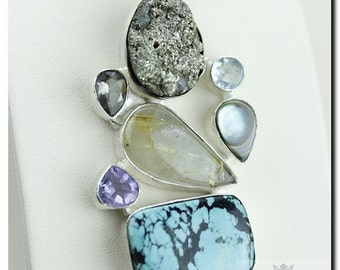 Tibet Turquoise Pyrite Drusy Rutile Quartz 925 SOLID Sterling Silver Pendant + 4mm Snake Chain &  Worldwide Shipping